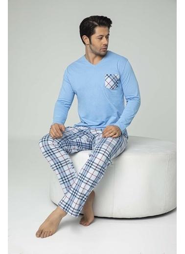 Aydoğan Erkek Süprem Mavi Altı Ekoseli Pijama Takımı Renkli